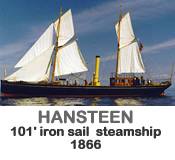 HANSTEEN - Iron sail steamship of 1866.