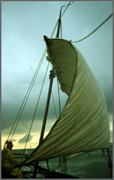 HITRA, a 29 foot boat built circa 1863, in a storm.