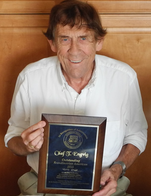Olaf T. Engvig with his 2015 Outstanding Scandinavian American Award