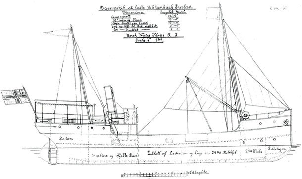 Original drawing of VÆRDALEN from 1891,by TMV 1891.