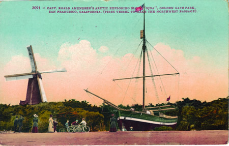 Legends In Sail by Engvig: Postcard of Gjoa deliberate beaching and preservation in San Francisco.
