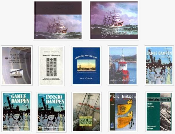 book covers of some of Olaf Engvig's books on ships, maritime history, ship building, etc.