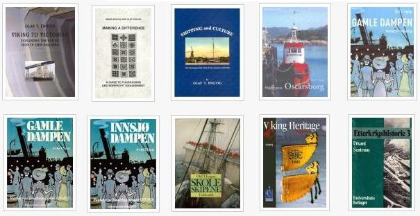 Olaf Engvig's book covers - maritime history books, fundraising books.